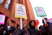 NYU graduate students rally for a fair contract on November 21, 2014. (Facebook / NYU AWDU)