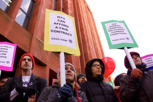 NYU graduate students rally for a fair contract on November 21, 2014. (Facebook / NYU AWDU)