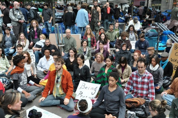 Activists  meditating in Zuccotti Park during Occupy. (WNV / Karsten Braaten)