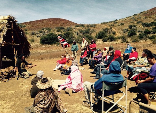 A morning gathering at the encampment on April 22. (Facebook / Protect Mauna Kea)