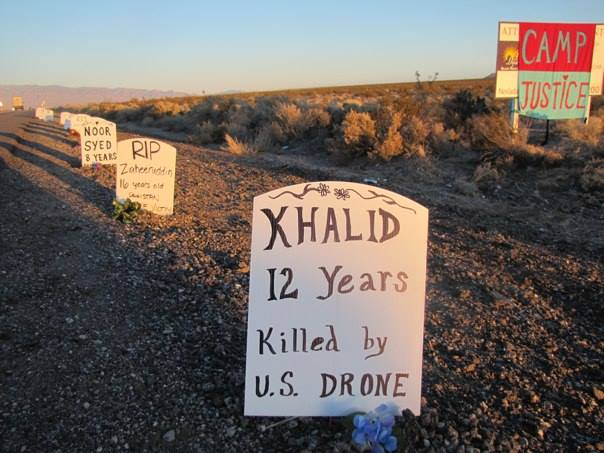 The Drone Victim Memorial along U.S. Highway 95 leading to Creech Air Force Base. (Facebook/Margeaux Süreyya Temeltaş)