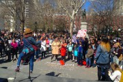 A rally against street harassment at Washington Square Park in Manhattan on Saturday. (WNV/Ashoka Jegroo)