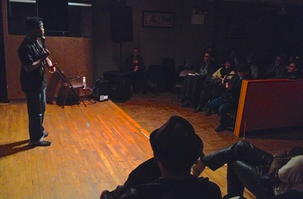 Elsa Waithe's stand up routine at Inkwell Jazz and Comedy Club in Bedford-Stuyvesant. (WNV/Ashoka Jegroo)