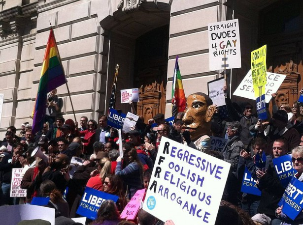 RFRA protesters in Indianapolis. (Wikimedia / Justin Eagan)