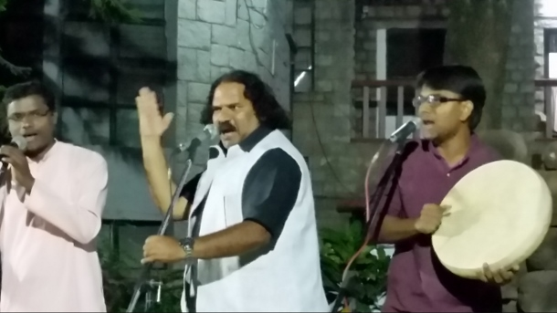 Sambhaji Bhagat (centre) performs with Dhamm Muktiwadi (right) & Baba (left) of Vidrohi Shahir Jalsa in Bangalore in March 2015. (WNV/Pushpa Achanta)