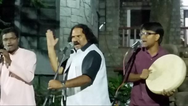 Sambhaji Bhagat (centre) performs with Dhamm Muktiwadi (right) & Baba (left) of Vidrohi Shahir Jalsa in Bangalore in March 2015. (WNV/Pushpa Achanta)
