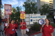 Nurses begin a two-day walk-out at Kaiser Permanente's Los Angeles Medical Center. (Twitter / California Nurses)