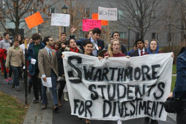Swarthmore students marching on campus in December. (Facebook / Swarthmore Mountain Justice)