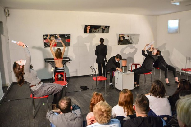"A public reading of the play ""Ugly"" in Minsk, Belarus on May 2. (Facebook)"