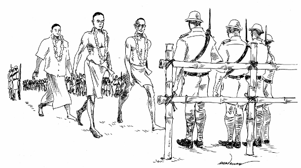 On March 30, 1924, first day of the Vykom satyagraha, three mixed-caste volunteers — two of them so-called untouchables, whose lack of status in the Hindu caste system is disclosed by their below-waist garb — approached the bamboo pole barriers erected by police of the Travancore princely state, where their passage was halted onto the forbidden temple roads. (WNV/Madanan Pv)