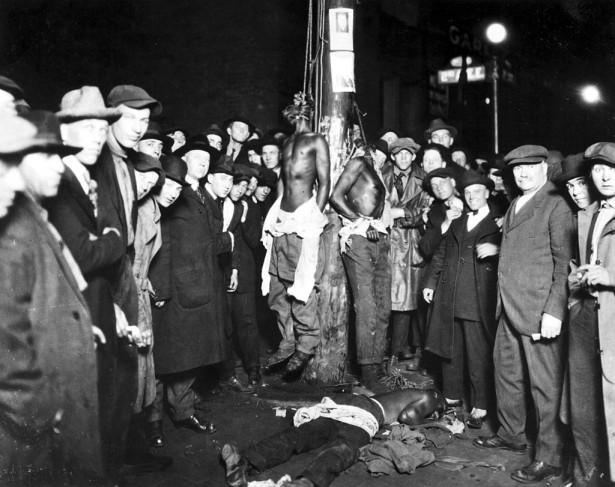 A postcard showing the 1920 Duluth, Minnesota lynchings. (WIkipedia)