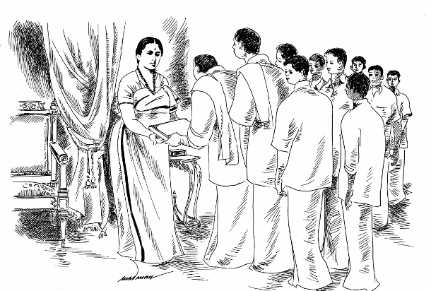 "On November 14, 1924, a twelve-member deputation presented the ""monster petition"" suggested by Gandhi to the Maharani Regent, which was signed by more than 25,000 high-caste Hindus, and asked her to throw open the temple roads. (WNV/Madanan Pv)"