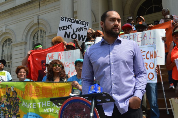 Jonathan Westin, Executive Director of New York Communities for Change, at Thursday's rally. (WNV / Alex Ellefson)