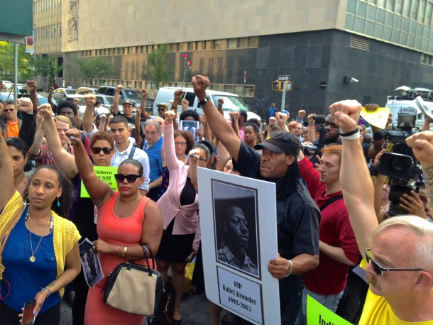 The vigil for Kalief Browder on June 11. (WNV/Ashoka Jegroo)