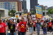 "Hundreds of indigenous people led a mass ""Tar Sands Resistance"" march in St. Paul, Minnesota on June 6. (WNV / David Goodner)"