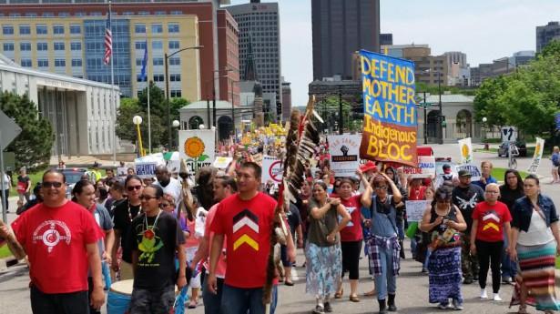 "Hundreds of indigenous people led a mass ""Tar Sands Resistance"" march in St. Paul, Minnesota on June 6. (WNV / David Goodner)"