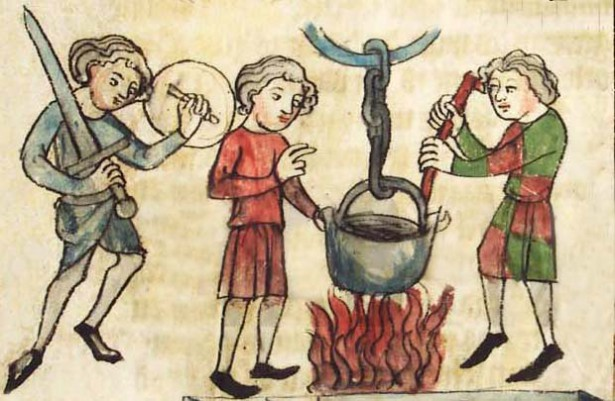 Ordeal of boiling water, illustration from manuscript. Germany cc. 1350-1375. (Wikipedia)