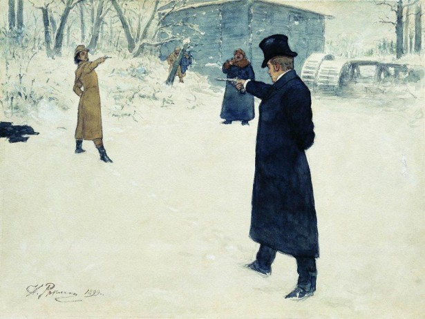 The fictional pistol duel between Eugene Onegin and Vladimir Lensky. Watercolor by Ilya Repin from 1899. (Wikipedia)