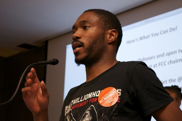 Dante Barry speaking at an event for net nuetrality at the Brooklyn Public Library on October 28, 2014.  (Flickr/Free Press)