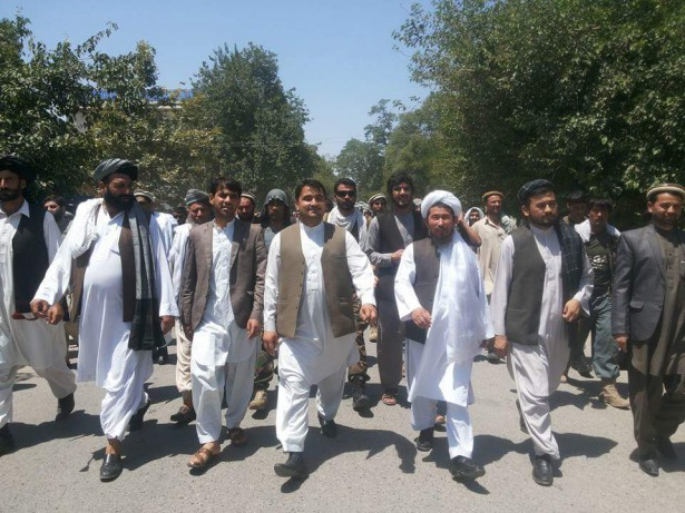 Protesters marching in Kundunz province. (WNV / Ahmadullah Archiwal)