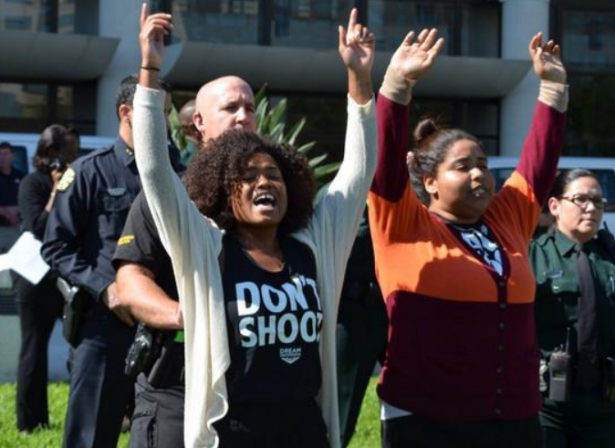 Members of Freedom Side protest a meeting of the International Association of Police Chiefs in Orlando in October 2014. (Twitter/Dream Defenders)