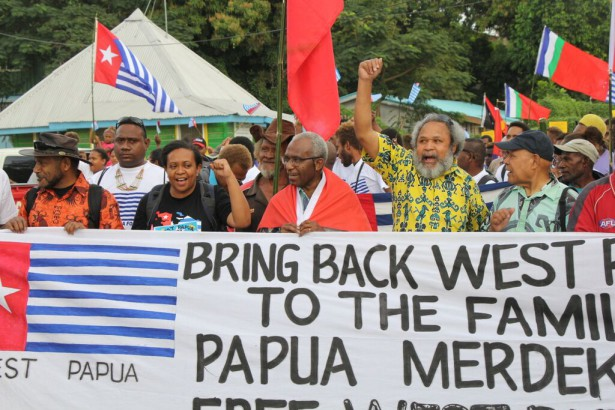 ULMWP leaders march in Honiara, Solomon Islands on June 19.  (WNV/ Pasifika collection)