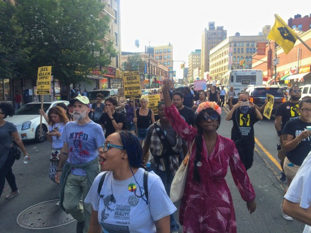 Black Lives Matter protesters marching in the Bronx on August 9, the one year anniversary of Michael Brown's death. (WNV / Ashoka Jegroo)