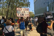 A protest in front of U.S. District Court for the Eastern District in downtown Brooklyn  for the legalization of sex work. (WNV/Ashoka Jegroo)