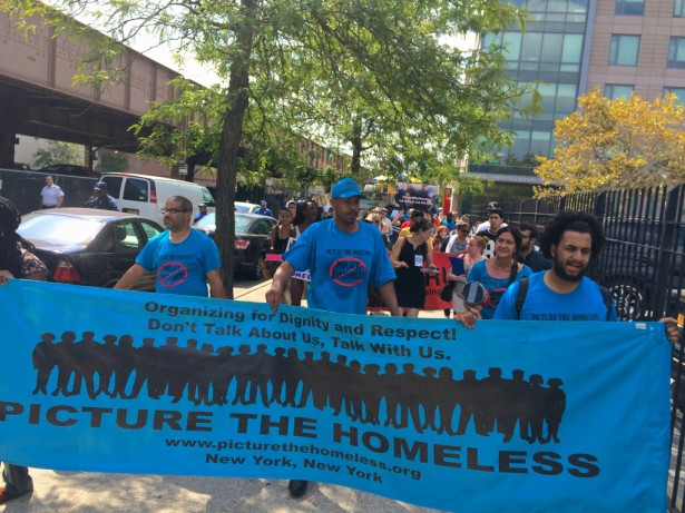 Protesters march against the NYPD's recent crackdown on the homeless. (WNV/Ashoka Jegroo)