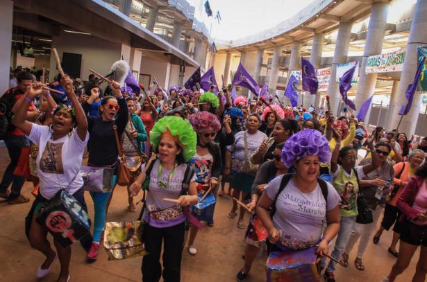 Mujeres en la V Marcha Anual de Margarida en Brasil el 13 de agosto (Mídia NINJA)