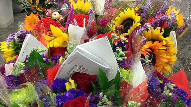 Bouquets of flowers sent to the Department of Homeland Security as part of #FlowerCampaign. (Immigration Voices)