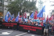 The front of the teachers march in Montreal on September 30. (Twitter/Hélène Bauer)
