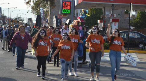 "In a ""Day of the Dead"" themed action, students walk out of class to their alderman's office in Chicago on October 26. (Progress Illinois)"