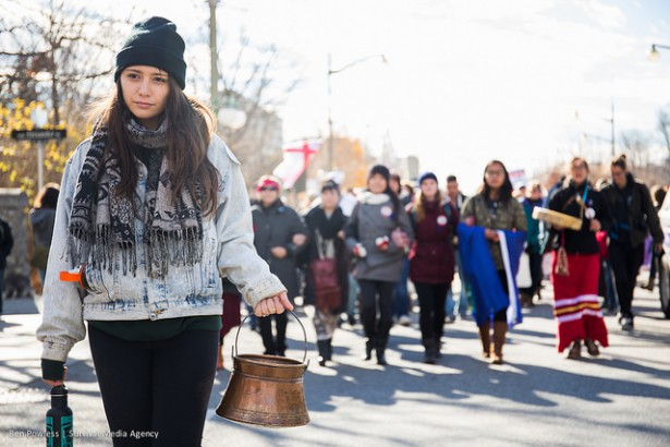 Indigenous Women leaders from different parts of Canada came together to help carry the sacred water to Prime Minister Trudeau's house on November 7. (Survival Media Agency / Ben Powless)