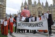 """""""Fast for Shaker"""" supporters outside parliament. (Twitter)"""