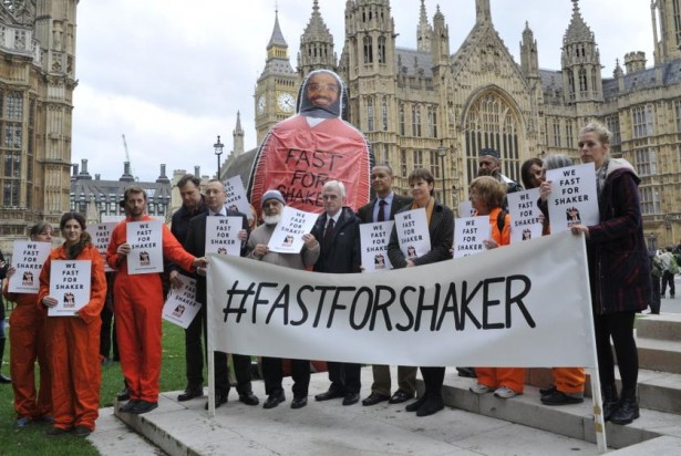 """Fast for Shaker"" supporters outside parliament. (Twitter)"