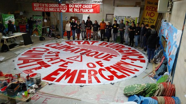 One of the large props being made for the climate actions at the Jardine D'Alice art build convergence center in Paris. (Twiiter/@350France)