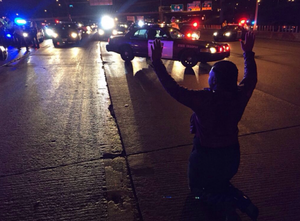 Black Lives Matter protesters shut down I-94 in Minneapolis on Monday night. (Twitter / @micamaryjane)