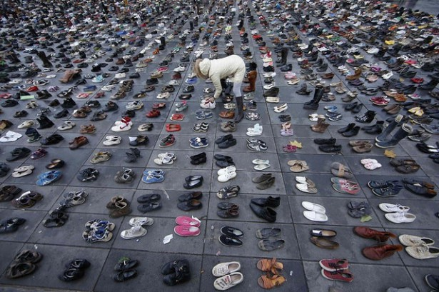 Shoes left symbolically after the French government banned the Paris Global Climate March on Sunday. (Flickr / Ian Bremmer)