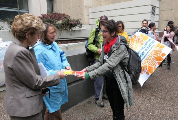 Activists deliver the Our Power Plan to the EPA's regional office in San Francisco on January 19. (Facebook/CEJA)