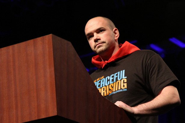 Tim DeChristopher speaking at the 2011 Power Shift, shortly before being sentenced to two years in prison. (Flickr / Linh Do)