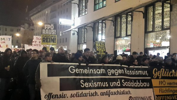 A march against the Academics Ball in Vienna, Austria on January 29. (Twitter/Rafaela Freitas)
