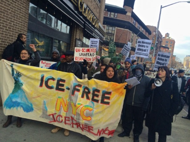 ICE-Free NYC marches in Manhattan on Friday. (WNV / Ashoka Jegroo)