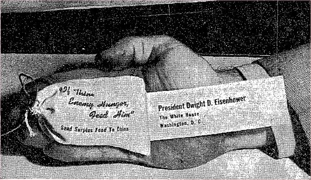A small bag of food sent to the White House in 1954 as part of FOR's Food for China campaign. (Snopes.com)