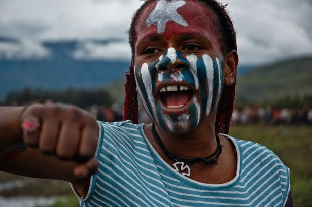 A young girl at an independence rally in Wamena, West Papua (Pasifika collection)
