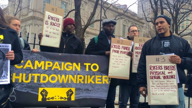 A protest outside City Hall to close the jail complex at Rikers Island on Feb. 23. (WNV/Ashoka Jegroo)