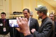 U.S. Army veteran Perry O'Brien questions former Pennsylvania Sen. Rick Santorum. (Beyond the Choir)