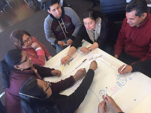Delfino Leadership Institute participants work on an exercise together on March 12. (Facebook/New York Worker Center Federation)