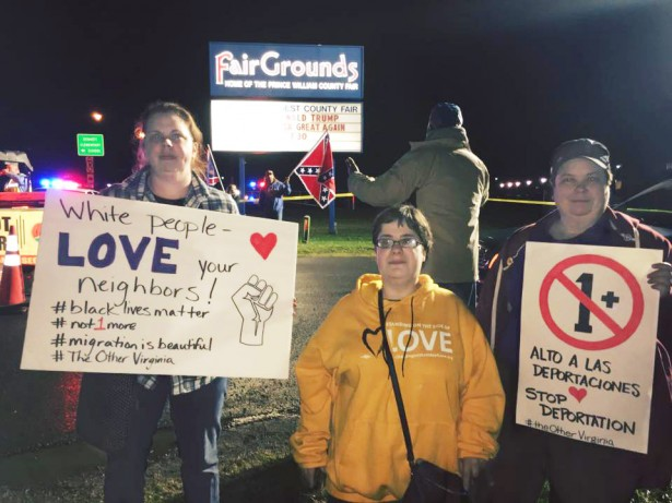 Protesters at a Trump rally in Virginia (SURJ)