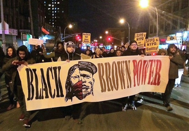 Protesters march for Alex Nieto from the Bronx to Harlem on March 21. (WNV/Ashoka Jegroo)